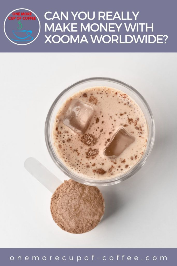 top view image of chocolate-colored beverage in a clear glass with brown powder in a scooper beside it; with text at the top in lavender banner