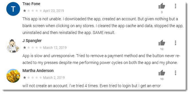 Negative App Reviews
