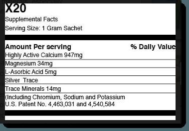 X20 Ingredients