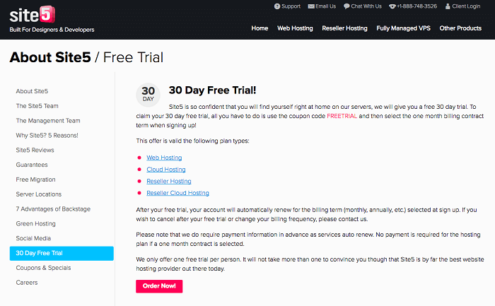 Test Site5 hosting plans with a 30-day free trial