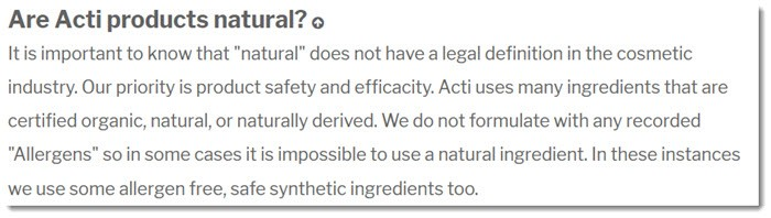 Are Acti Products Natural