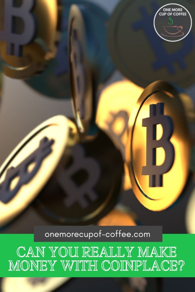 closeup image of floating bitcoins with text overlay at the bottom in green banner