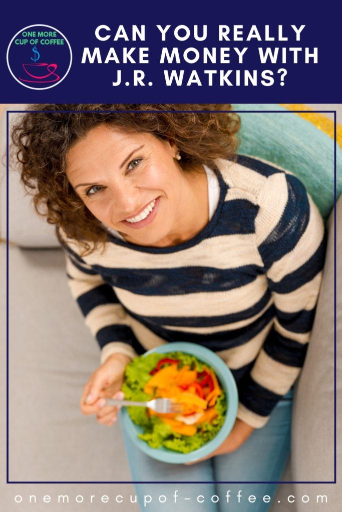 top view image of a woman in blue and brown stripes top, looking up the camera, sitting on a couch while eating a bowl of salad; with text overlay at the top in blue banner