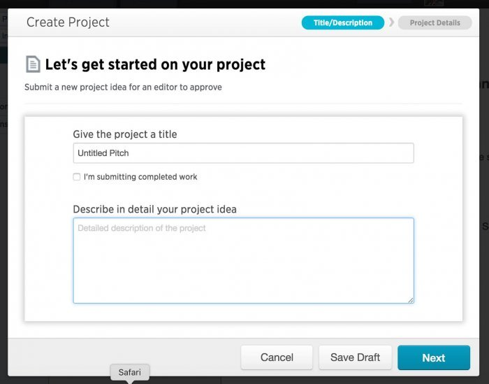 First stage of submitting a project.