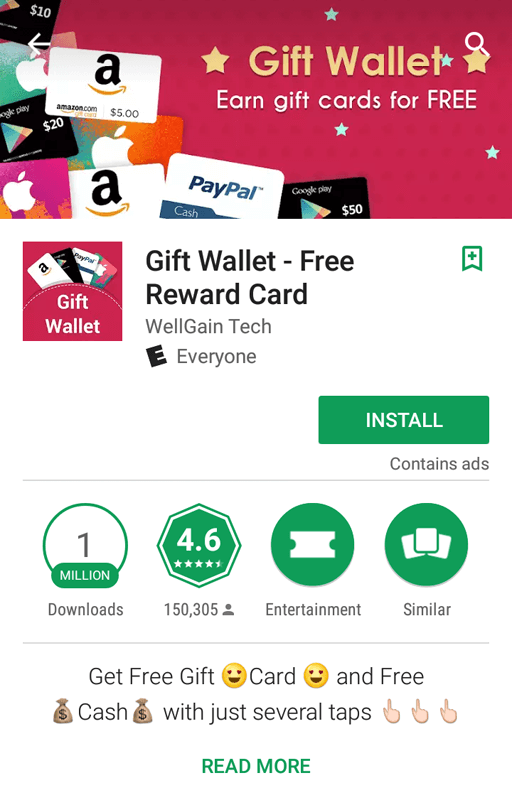Gift Wallet App Screen