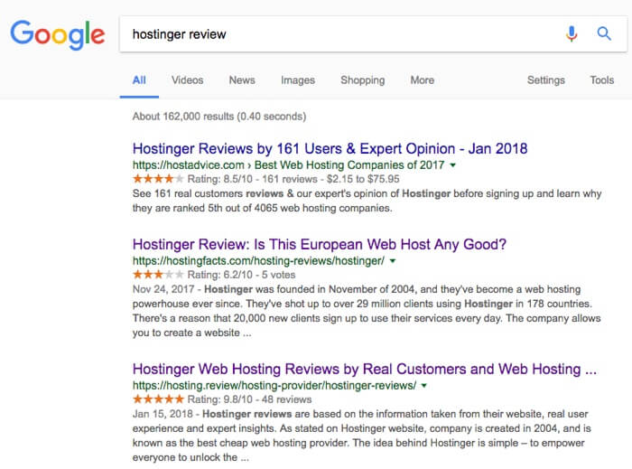 hostinger review google results