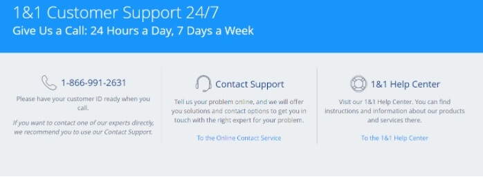 1 and 1 hosting customer support live chat ticket support