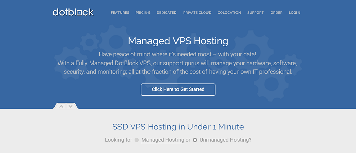 DotBlock's front page focuses on their competitive VPS services