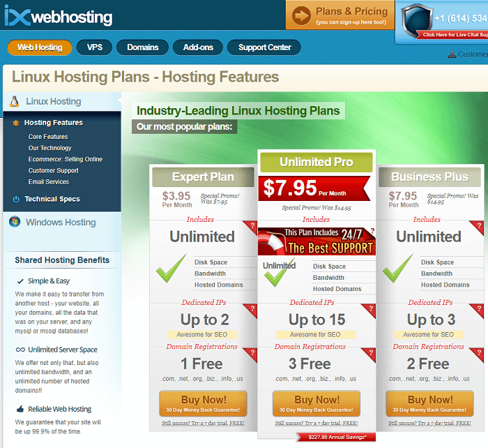 The splash page for IX Hosting advertises shared and VPS hosting