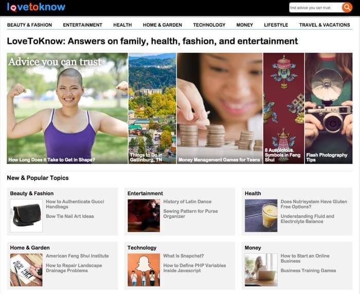 love to know website front page