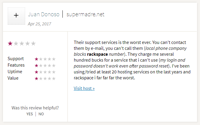 A customer complains about Rackspace's poor in-house email