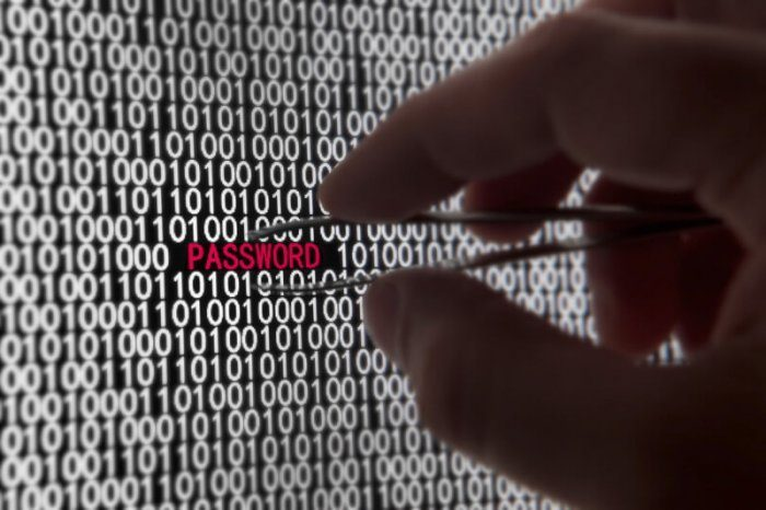"""image of screen of white numbers with a red word that reads """"password"""". There's an image of tweezers picking out the password phrase representing a lack of website security"""
