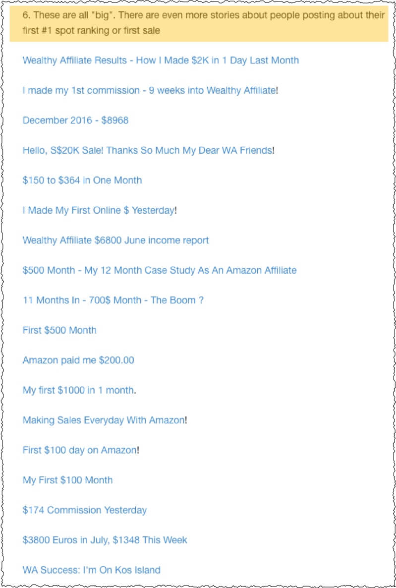 screnshot of blog post from members area showing various success stories earning large amounts of money