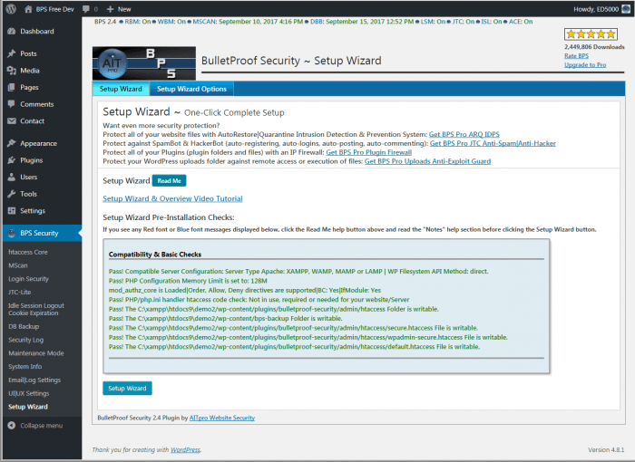 The BulletProof plugin setup wizard, including a list of the compatibility checks ran during the setup.