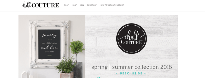 Chalk Couture Website Screenshot showing a frame that someone has created, along with wording about the Spring/Summer Collection