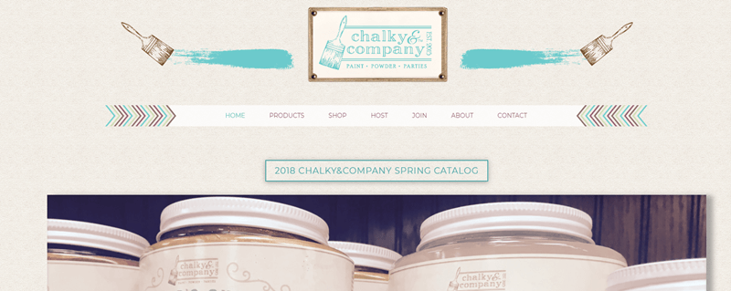 Chalky and Company Website Screenshot showing the company's logos and partial images of the products.