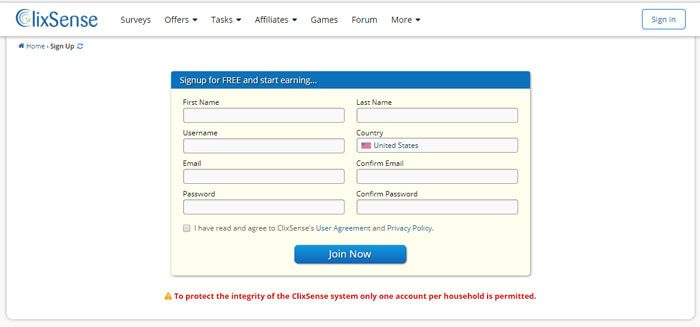 ClixSense Sign Up Screen