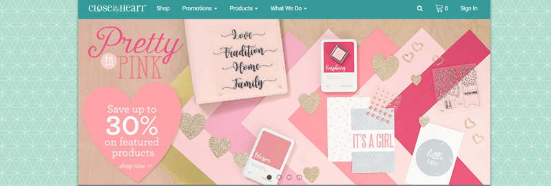 Close To My Heart Website Screenshot showing the Pretty in Pink Collection