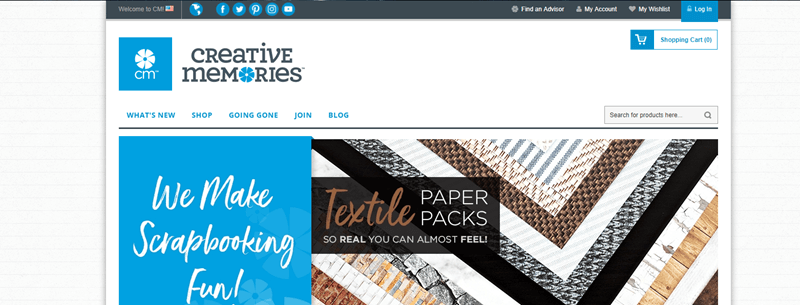 Creative Memories Website Screenshot showing various textile paper packs