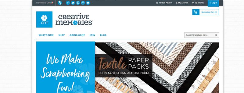 Creative Memories Website Screenshot showing various textile paper packs