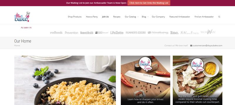 Do You Bake Website Screenshot showing a few meals, a running 'as seen on' list and various menus.