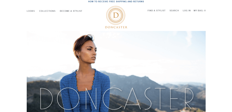 Doncaster Website Screenshot showing a woman outside in a blue outfit from the company