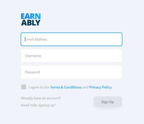 Earnably Sign Up