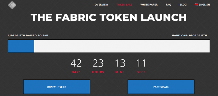 screenshot of the Fabric token ICO launch date in 42 days
