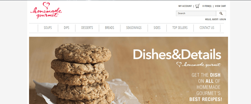Homemade Gourmet Website Screenshot showing a stack of cookies and information about the site.