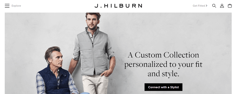J. Hilburn Website Screenshot showing a young man standing and an older man sitting
