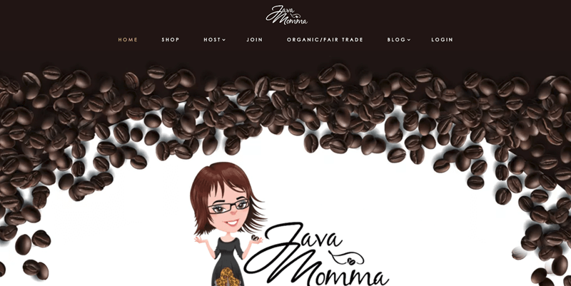 Java Momma Website Screenshot showing coffee and a custom made avatar