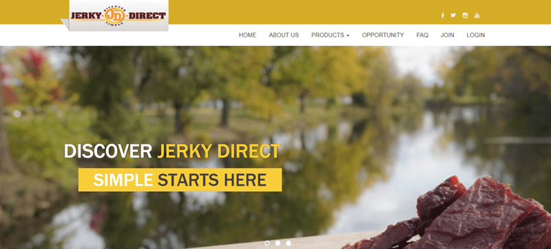 Jerky Direct Website Screenshot showing some jerky and an outside scene of a river with trees on either side