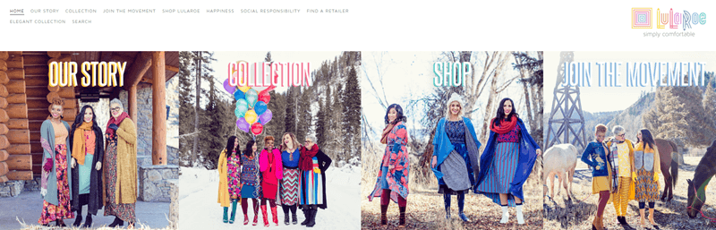 LuLaRoe Website Screenshot Showing 14 Women All Wearing Clothes from the Company