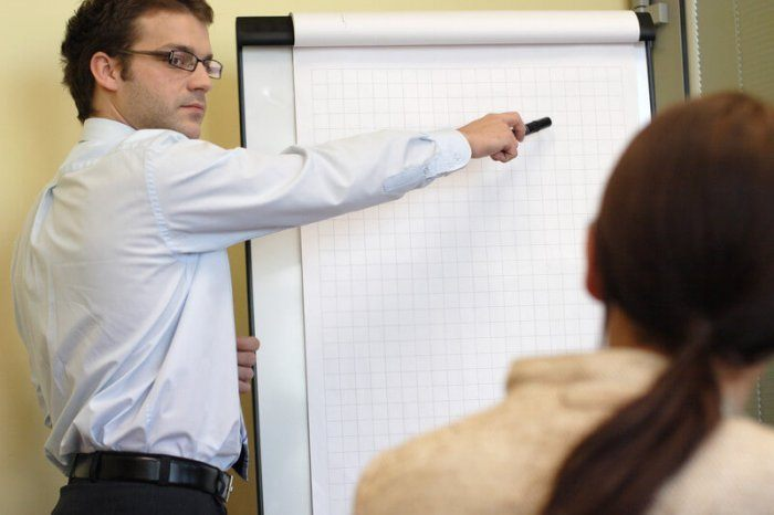 Manufacturing sales rep pointing at a board explaning why his product is good to buy