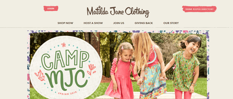 Matilda Jane Website Screenshot showing three young girls outside in play clothes from Matilda Jane Clothing