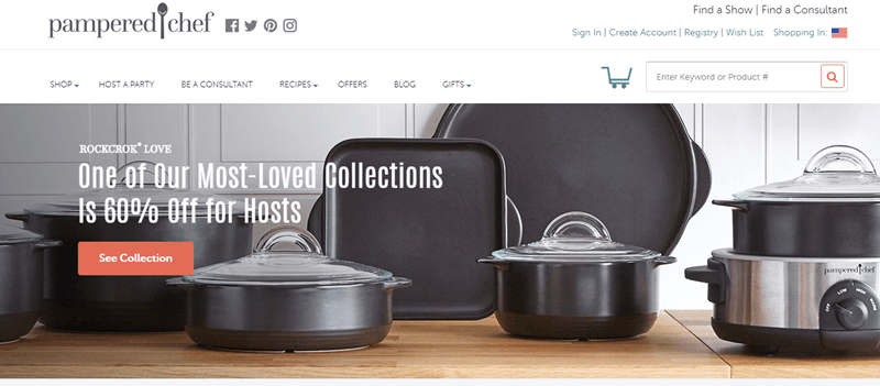 Pampered Chef Website Screenshot showing a selection of Rockcrok Love pots and pans