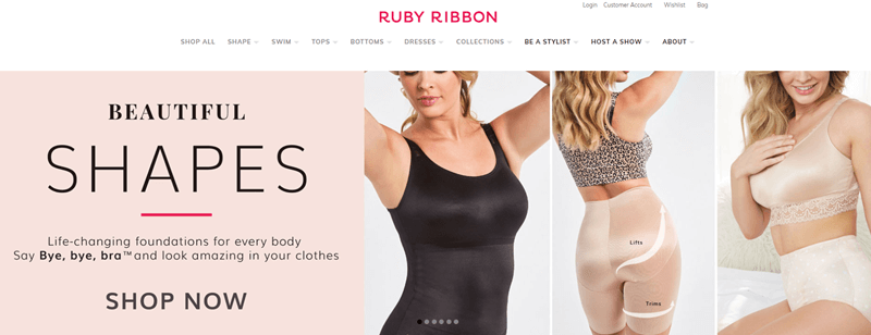 Ruby Ribbon Website Screenshot showing three images of women in shapewear