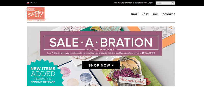 Stampin Up Website Screenshot showing their Sale.a.bration