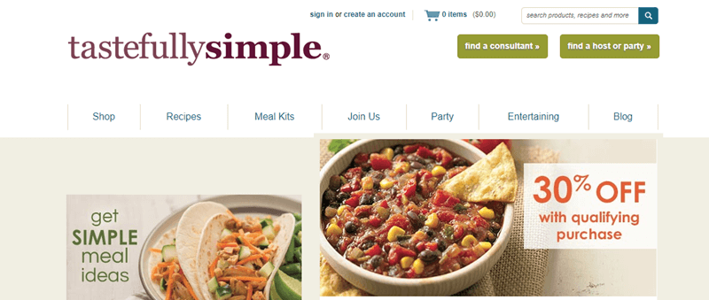 Tastefully Simple Website Screenshot showing tacos and a chili dish