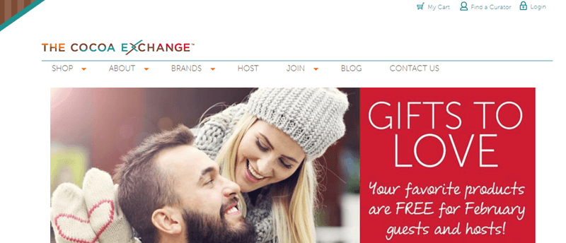 The Cocoa Exchange Website Screenshot showing a couple and the 'Gifts to Love' phrasing.