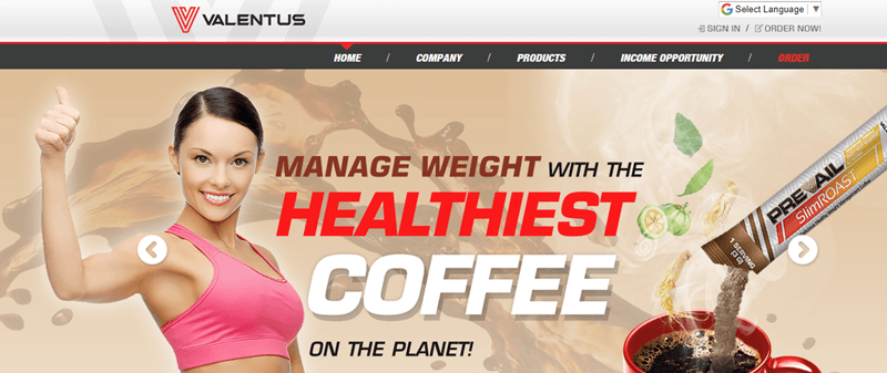 Screenshot of the Valentus Website with a Weight Loss and Coffee Focus