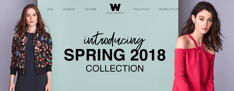 W by Worth Website Screenshot showing the Spring 2018 Collection intro and two woman