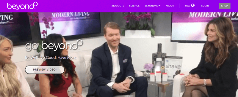 Well Beyond Website Screenshot showing a talk show setting with products on the table