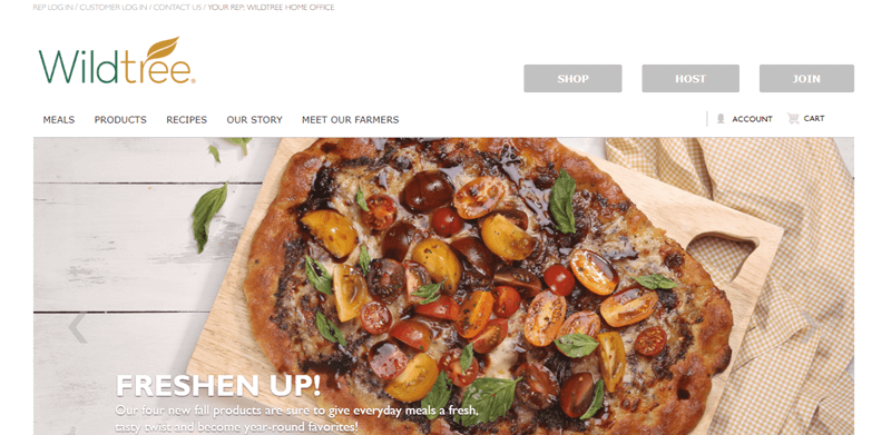 Wildtree Website Screenshot showing a homemade pizza with cherry tomatoes