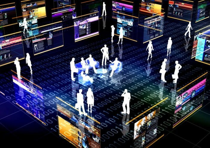 image of virtual people standing in a room made of 1's and 0's representing an online community