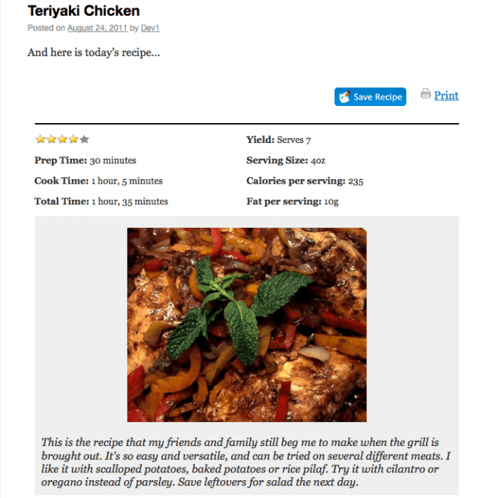 The layout of a recipe formatted and posted via Zip Recipes.