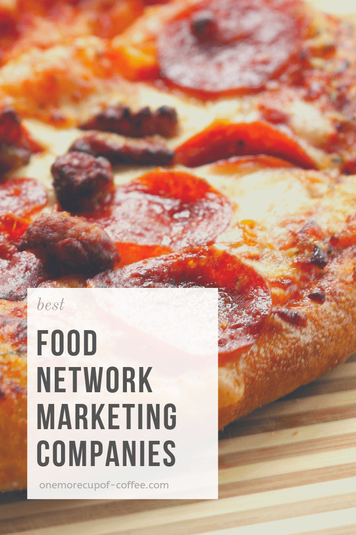 "large juicy pizza with pepperoni and sausage and the words ""best food network marketing companies"""