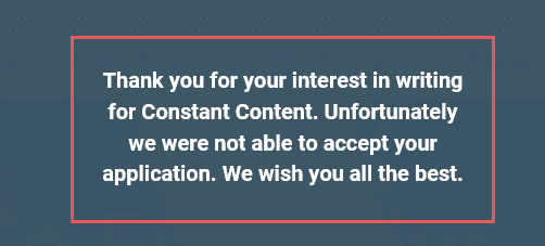 Image of a rejection note sent by Constant Content.
