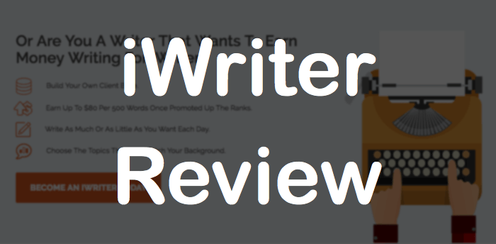 """screenshot of iwriter home page with blurred background and text that says, """"iWriter Review"""""""