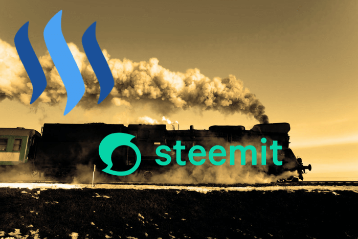 steam powered train on sepia photo with Steemit and STEEM logos